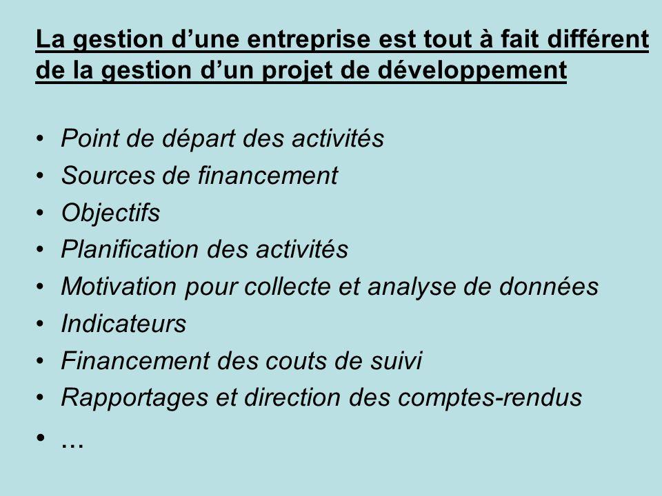La gestion d'une entreprise est tout à fait différent de la gestion d'un projet de développement