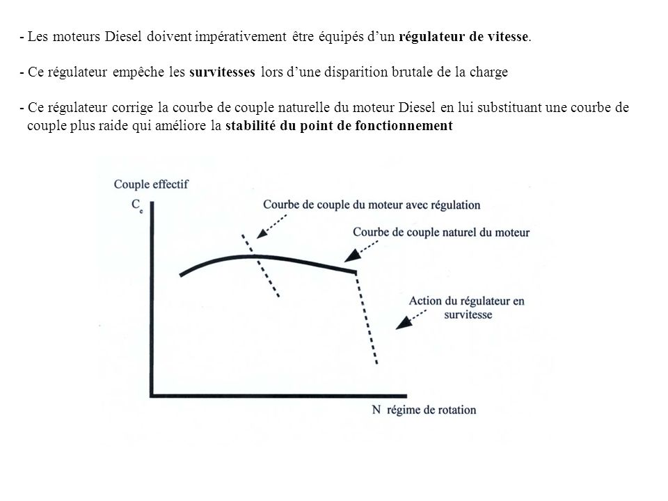 Les moteurs Diesel doivent impérativement être équipés d'un régulateur de vitesse.