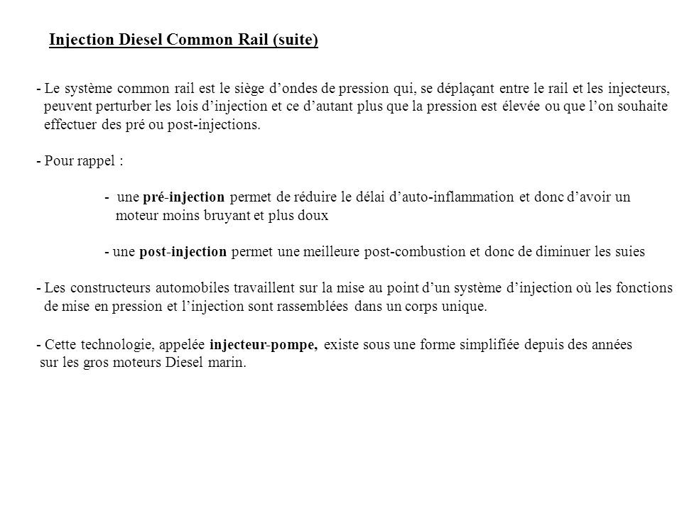 Injection Diesel Common Rail (suite)