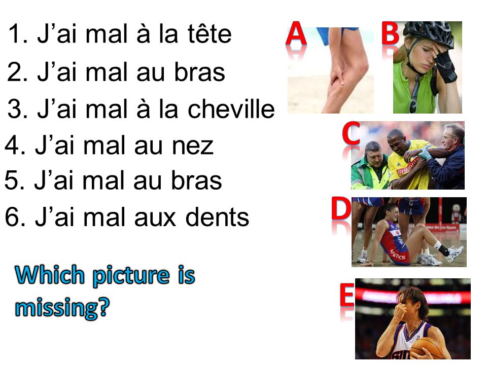 A B C D E 1. J'ai mal à la tête 2. J'ai mal au bras
