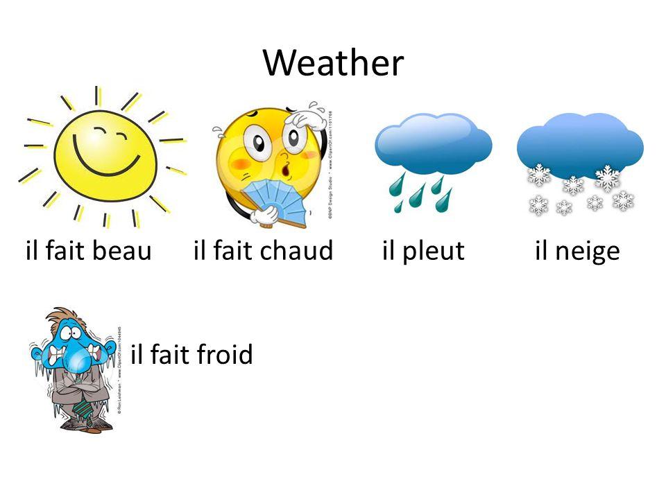 Weather il fait beau il fait chaud il pleut il neige il fait froid