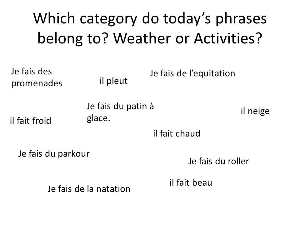 Which category do today's phrases belong to Weather or Activities