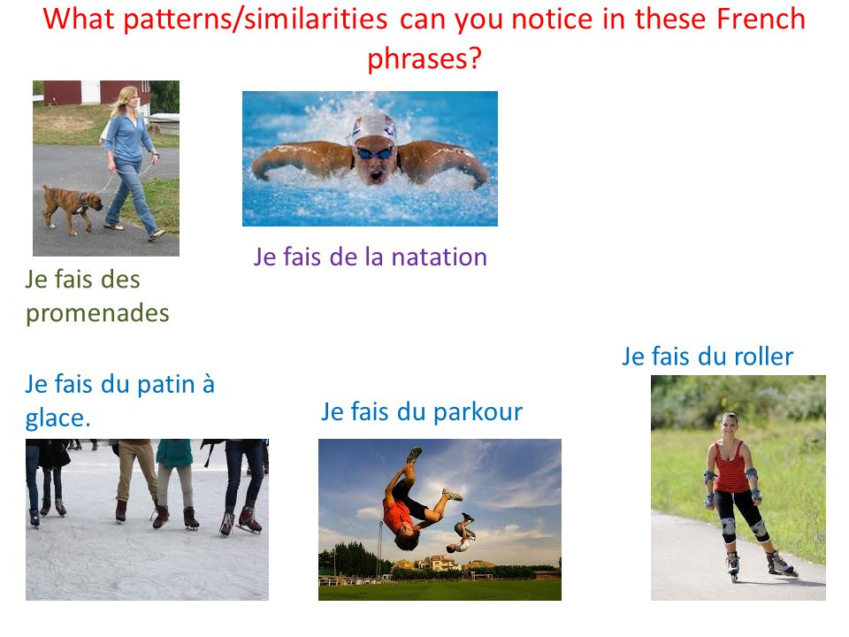 What patterns/similarities can you notice in these French phrases