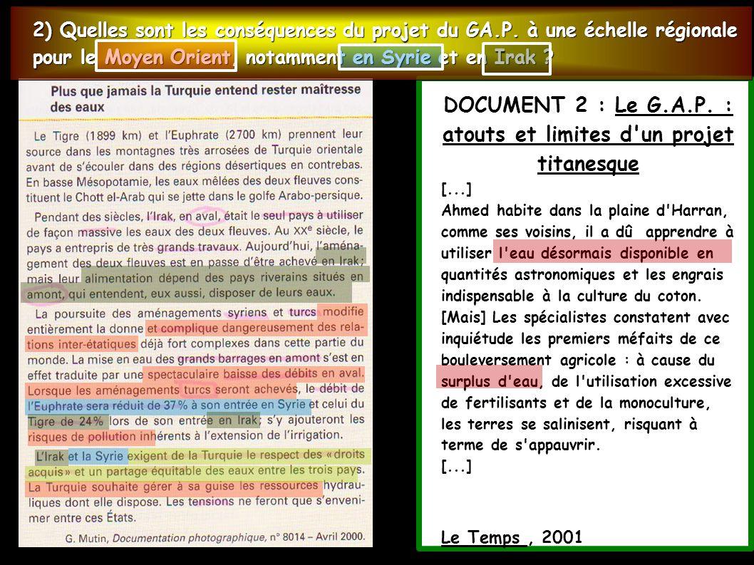 DOCUMENT 2 : Le G.A.P. : atouts et limites d un projet titanesque