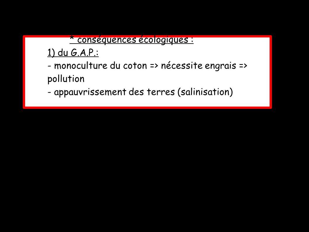 * conséquences écologiques :