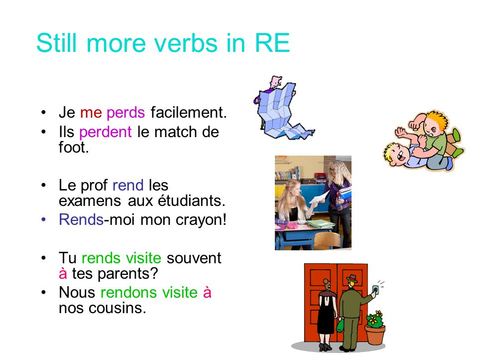 Still more verbs in RE Je me perds facilement.
