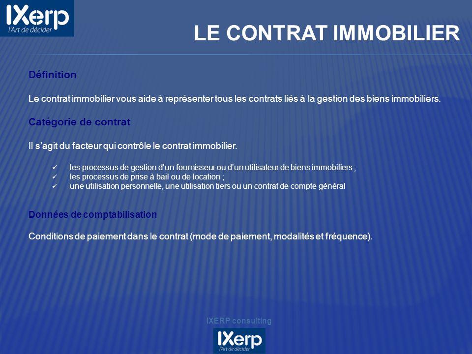 LE CONTRAT IMMOBILIER Définition Catégorie de contrat