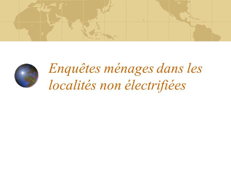 Enquêtes ménages dans les localités non électrifiées