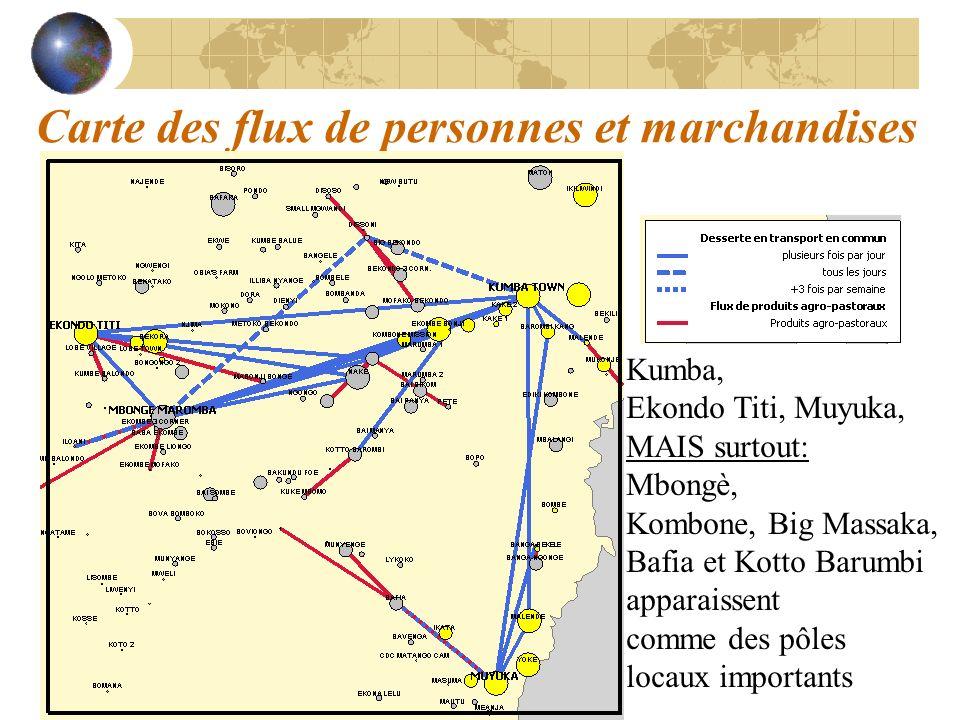 Carte des flux de personnes et marchandises