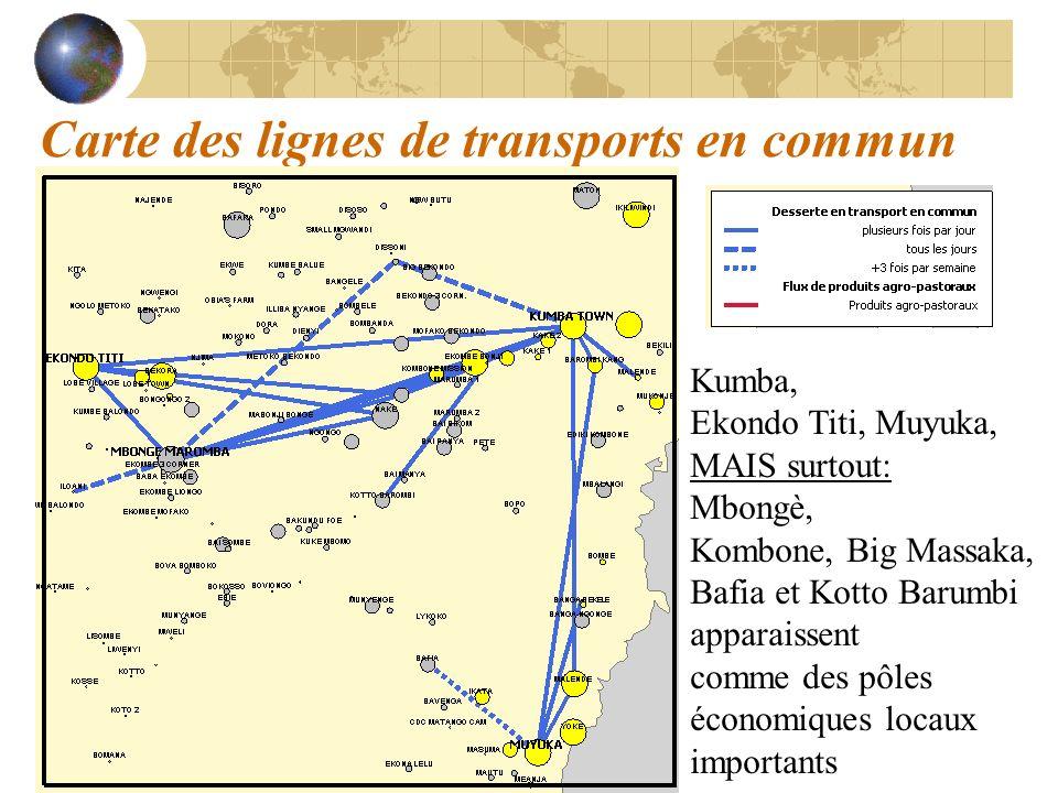 Carte des lignes de transports en commun
