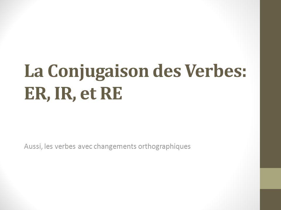 La Conjugaison des Verbes: ER, IR, et RE