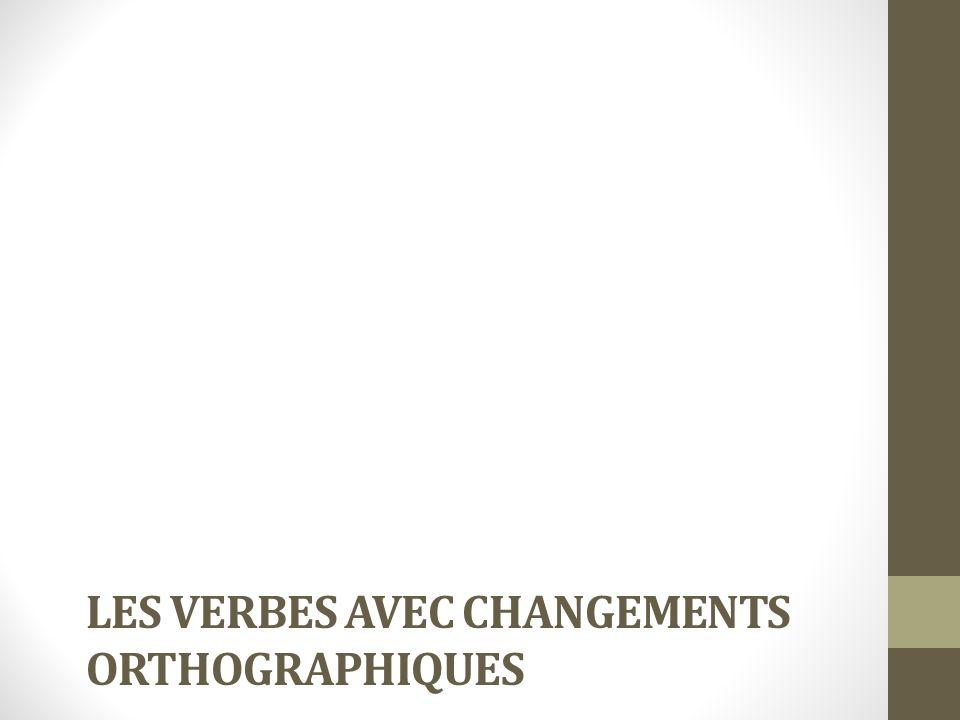 Les verbes avec changements orthographiques