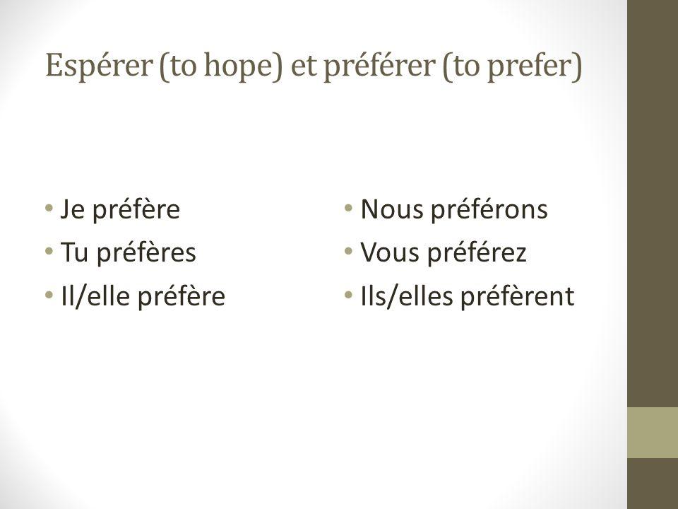 Espérer (to hope) et préférer (to prefer)