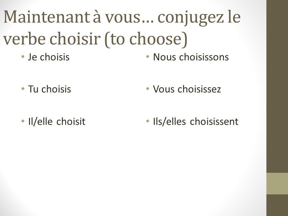 Maintenant à vous… conjugez le verbe choisir (to choose)