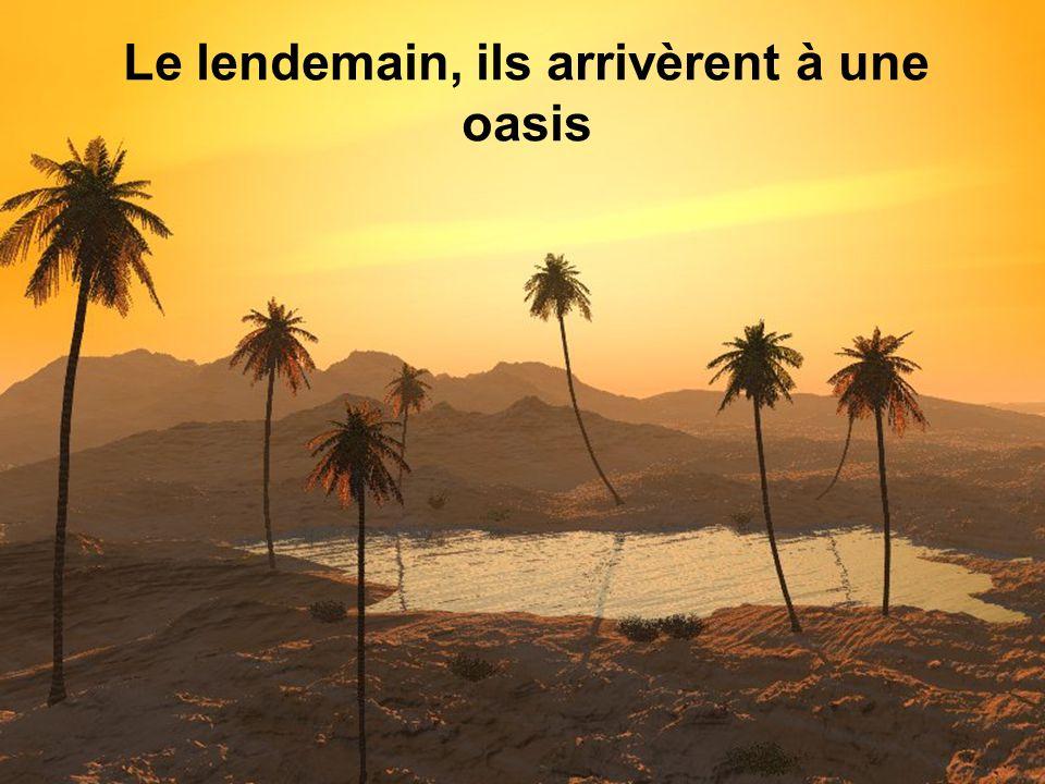 Le lendemain, ils arrivèrent à une oasis