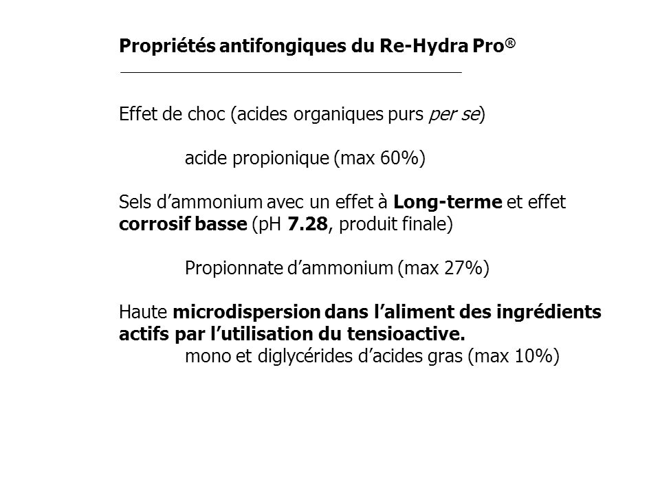 Propriétés antifongiques du Re-Hydra Pro®