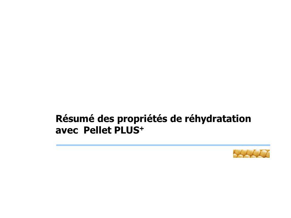 Résumé des propriétés de réhydratation avec Pellet PLUS+