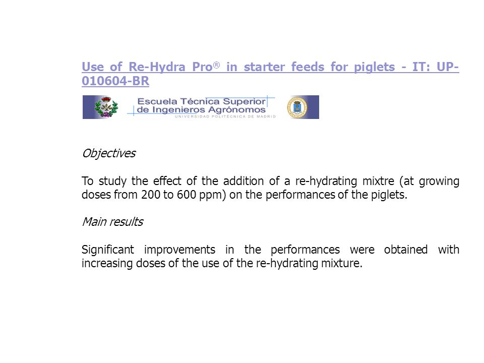 Use of Re-Hydra Pro® in starter feeds for piglets - IT: UP-010604-BR
