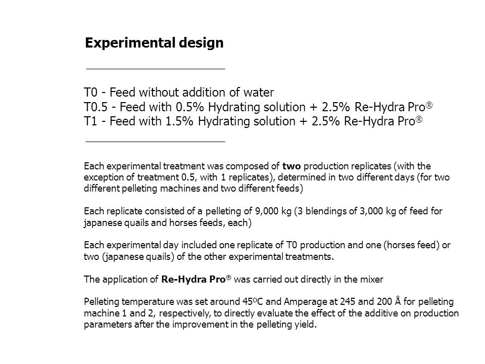 Experimental design T0 - Feed without addition of water