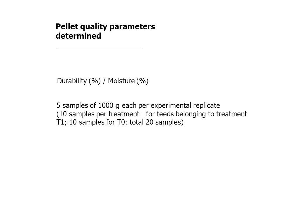 Pellet quality parameters determined