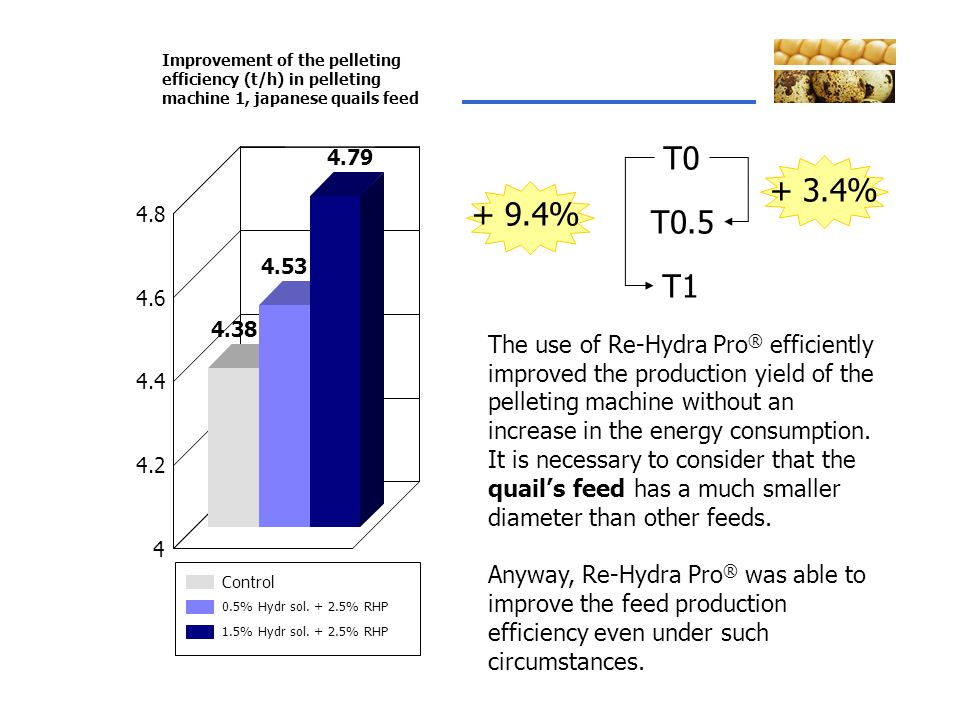 Improvement of the pelleting efficiency (t/h) in pelleting machine 1, japanese quails feed