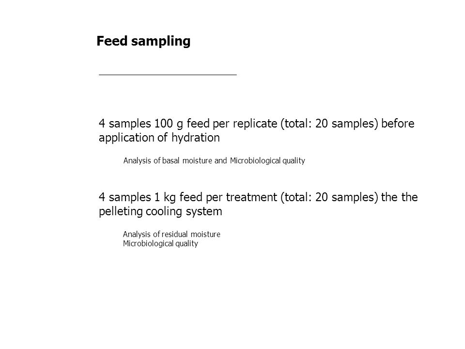 Feed sampling 4 samples 100 g feed per replicate (total: 20 samples) before application of hydration.