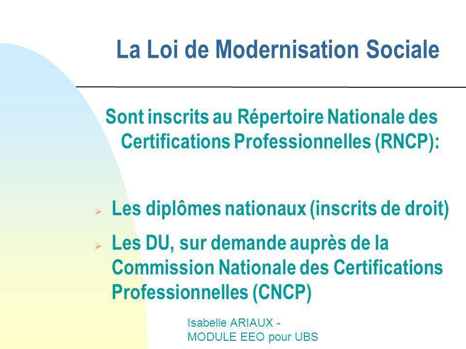 La Loi de Modernisation Sociale