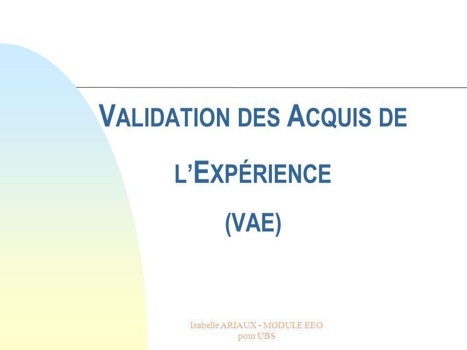 VALIDATION DES ACQUIS DE L'EXPÉRIENCE (VAE)