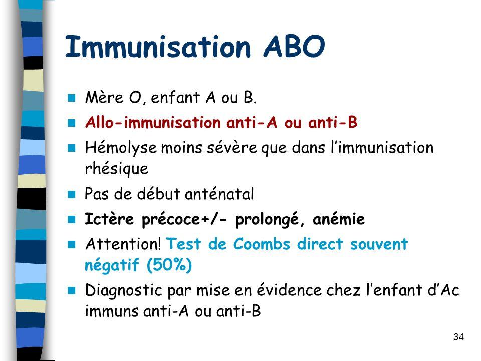 Immunisation ABO Mère O, enfant A ou B.