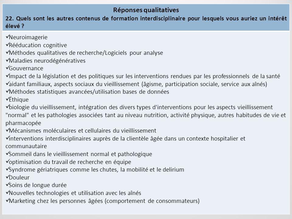 Réponses qualitatives
