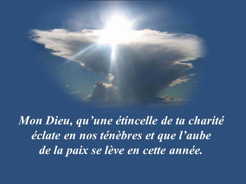 Mon Dieu, qu'une étincelle de ta charité éclate en nos ténèbres et que l'aube de la paix se lève en cette année.