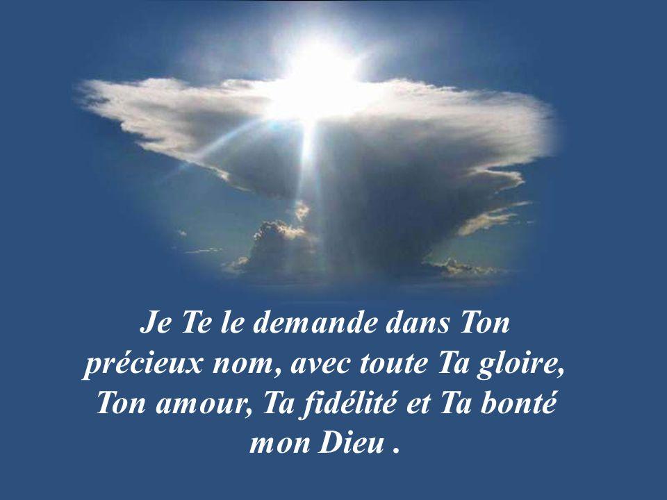 Je Te le demande dans Ton précieux nom, avec toute Ta gloire, Ton amour, Ta fidélité et Ta bonté mon Dieu .