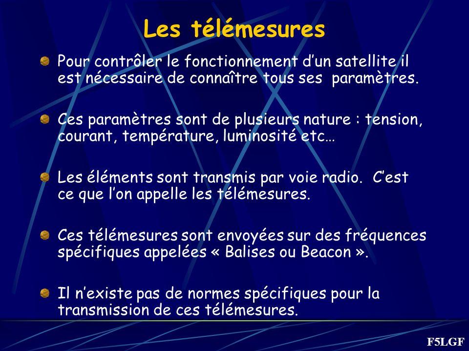 Les télémesures Pour contrôler le fonctionnement d'un satellite il est nécessaire de connaître tous ses paramètres.