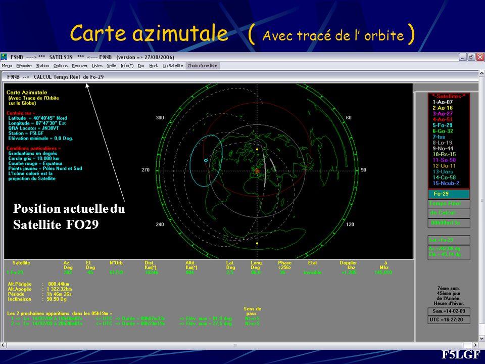 Carte azimutale ( Avec tracé de l' orbite )