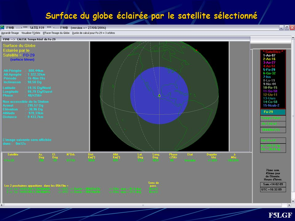 Surface du globe éclairée par le satellite sélectionné