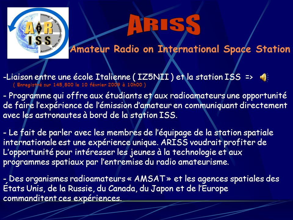 ARISS Amateur Radio on International Space Station