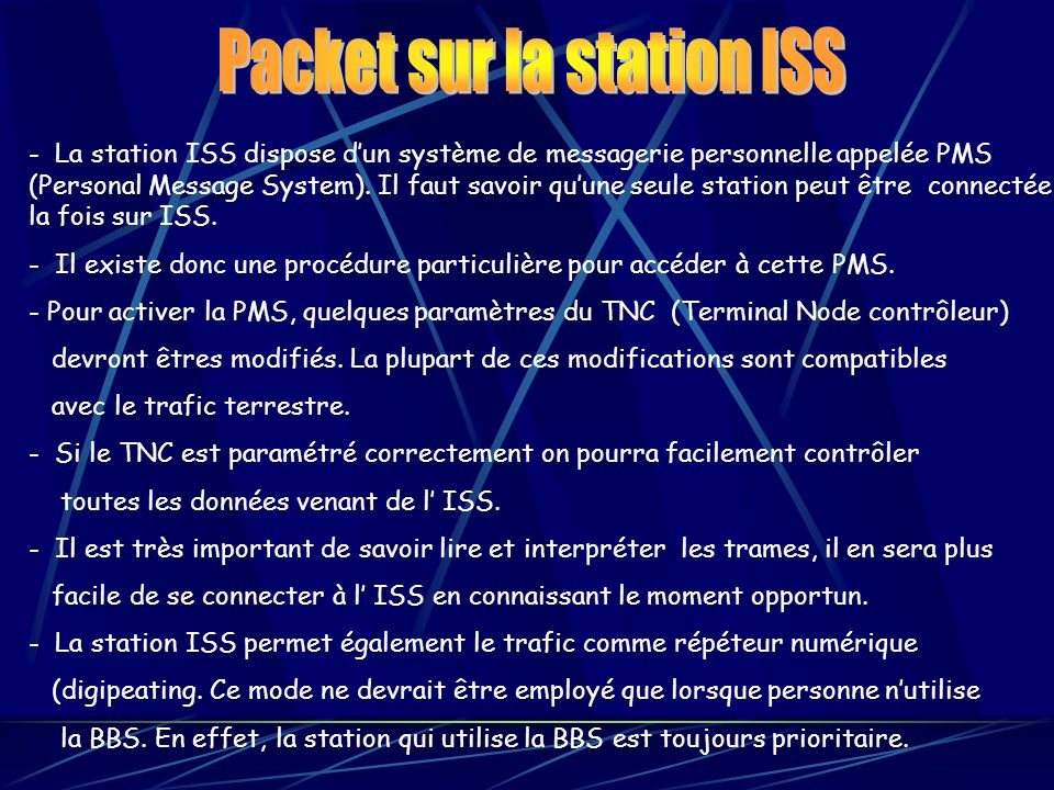 Packet sur la station ISS