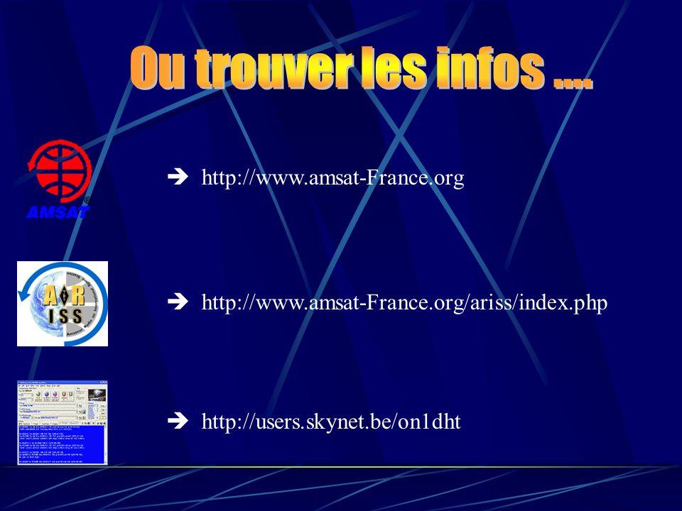 Ou trouver les infos ....  http://www.amsat-France.org