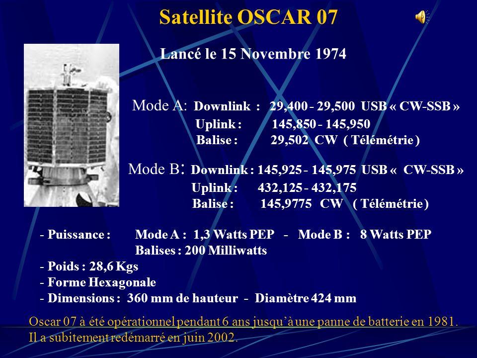 Satellite OSCAR 07 Lancé le 15 Novembre 1974