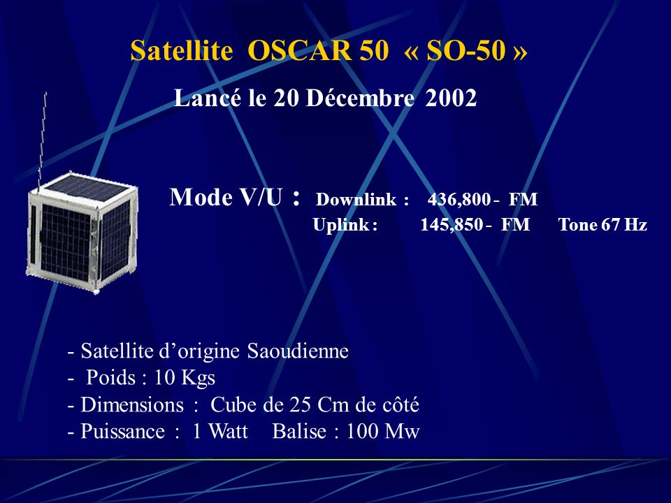 Satellite OSCAR 50 « SO-50 » Lancé le 20 Décembre 2002