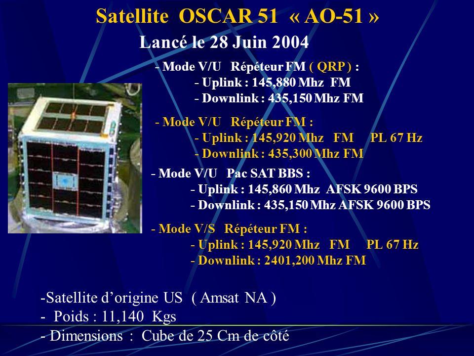Satellite OSCAR 51 « AO-51 » Lancé le 28 Juin 2004