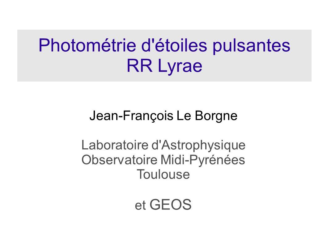 Photométrie d étoiles pulsantes RR Lyrae