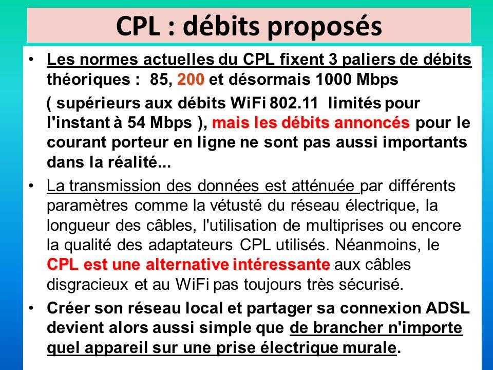 CPL : débits proposés Les normes actuelles du CPL fixent 3 paliers de débits théoriques : 85, 200 et désormais 1000 Mbps.