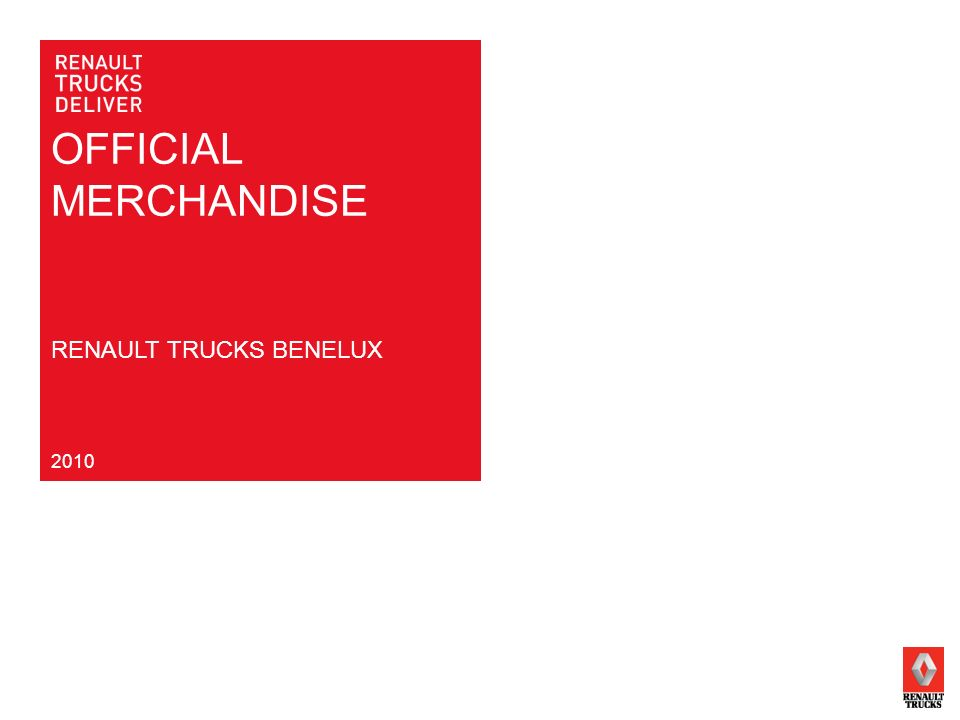 OFFICIAL MERCHANDISE RENAULT TRUCKS BENELUX 2010