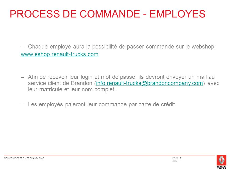 PROCESS DE COMMANDE - EMPLOYES