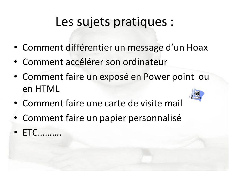 Les sujets pratiques : Comment différentier un message d'un Hoax