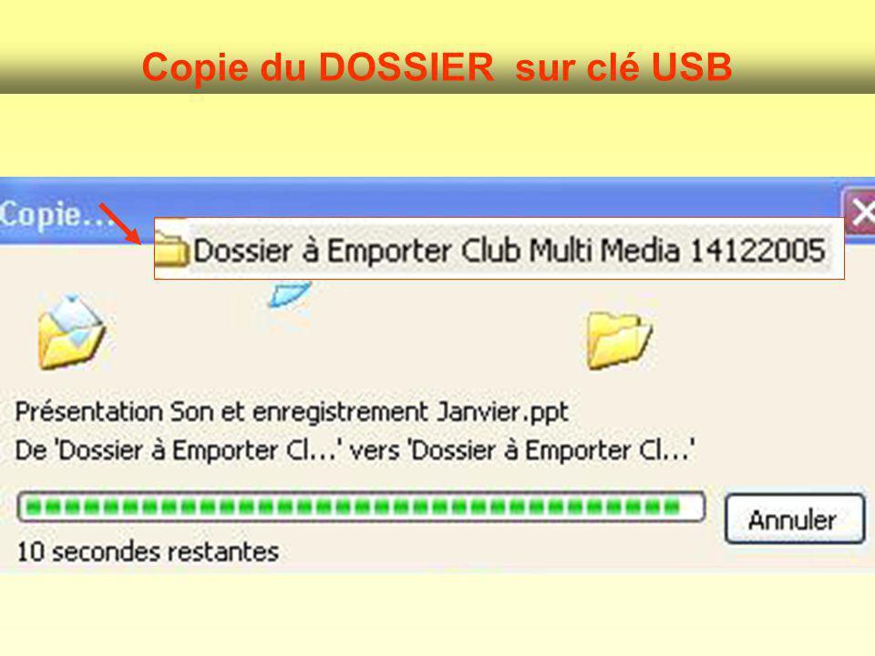 Copie du DOSSIER sur clé USB