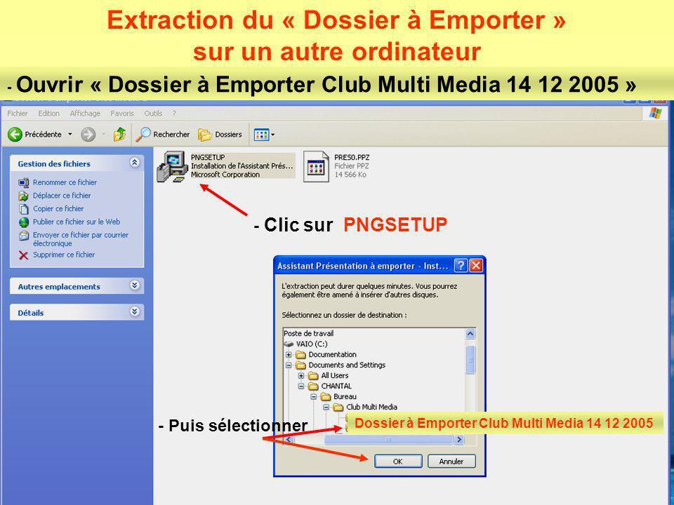 Extraction du « Dossier à Emporter » sur un autre ordinateur
