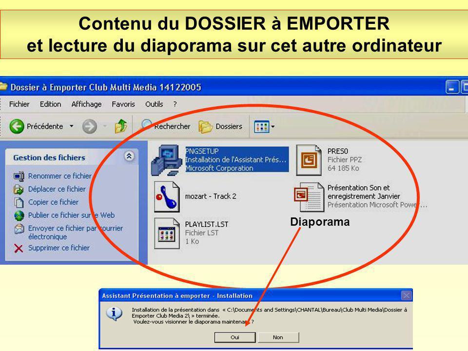 Contenu du DOSSIER à EMPORTER et lecture du diaporama sur cet autre ordinateur