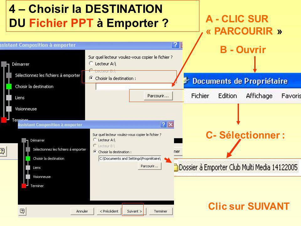 4 – Choisir la DESTINATION DU Fichier PPT à Emporter